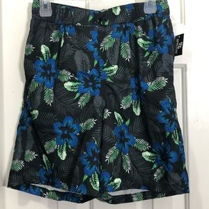 Boys tropical floral mesh lined swim trunks shorts